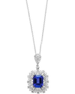 18k White Gold And Tanzanite Pendant Necklace With 1.49 Tcw Diamonds