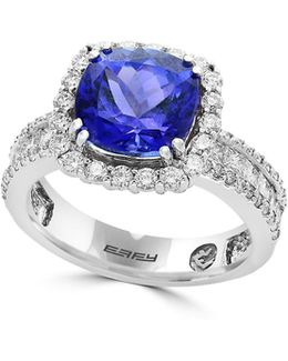 18k White Gold And Tanzanite Ring With 0.95 Diamonds