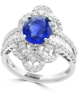 18k White Gold And Sapphire Ring With 1.3 Tcw Diamonds