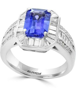 18k White Gold And Tanzanite Ring With 1.42 Tcw Diamonds
