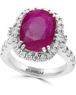 18k White Gold And Ruby With Diamonds