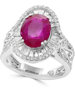 18k White Gold And Ruby Ring With 1.15 Tcw Diamonds