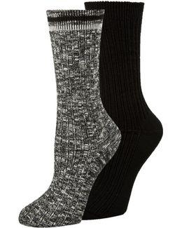 Two-pack Openwork Dual Stripe Crew Socks