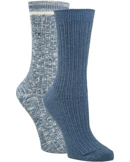 Two-pack Openwork Dual Stripe Crew Socks