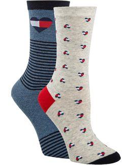 Two-pair Logo Heart Crew Socks