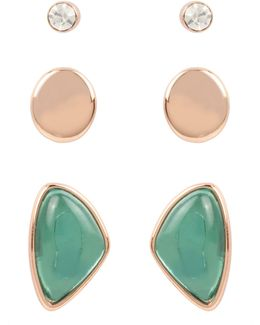 Crystal Three-pair Earring Set