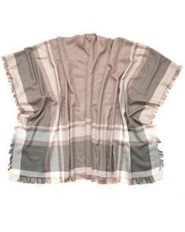 Camel Block Plaid Poncho