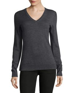 Long Sleeve Wool V-neck Sweater