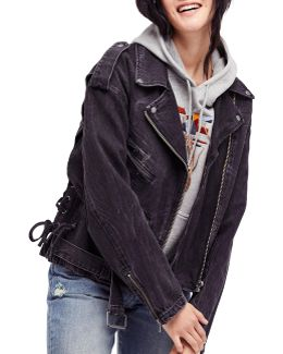 Oversized Denim Cotton Motorcycle Jacket