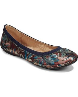 Floral-stitch Ballet Flats