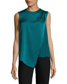 Draped Pleat Sleeveless Top