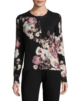 Floral-printed Cashmere Cardigan
