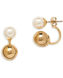 Pearlfect Faux Pearl Crawler Earrings