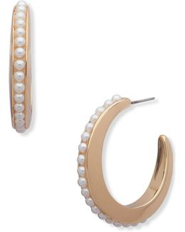 Pearlfect Faux Pearl Hoop Earrings