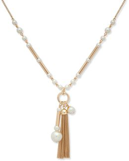 Pearlfect Faux Pearl And Crystal Pendant Necklace