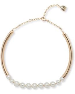Pearlfect Faux Pearl And Crystal Choker Necklace