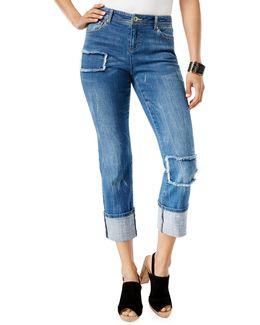 Patchwork Mid-rise Boyfriend Jeans