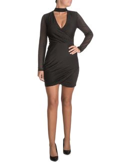 Side Gather Bodycon Choker Dress