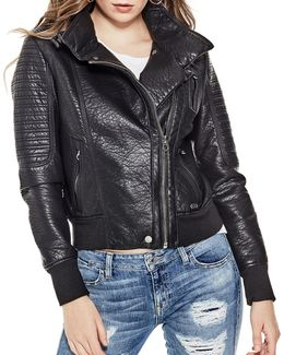 Evelyn Faux-leather Motorcycle Jacket