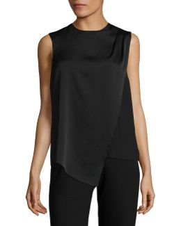 Plus Draped Pleat Sleeveless Top