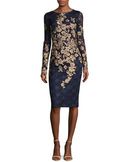 Embroidered Floral Lace Sheath Dress