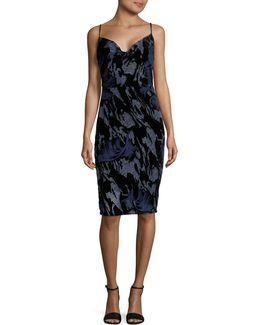 Skinny Strap Velvet Burnout Slip Dress
