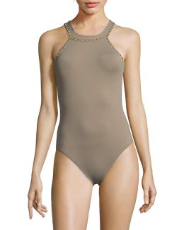 Studded O-ring High Neck One-piece Swimsuit