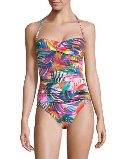 One-piece Twist Bandeau Printed Swimsuit