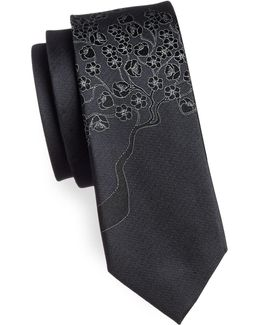 Slim Floral Jacquard Silk Tie