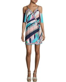 Electric Wave Cold-shoulder Cover-up Tunic