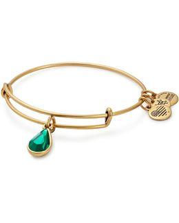 May Birth Month Charm Bangle With Swarovski Emerald Crystal