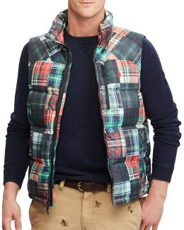 Patchwork Water-repellent Down-filled Vest