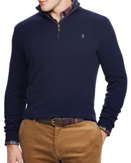 Rib-knit Half-zip Sweater