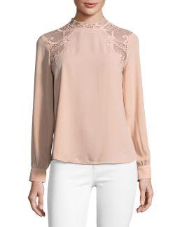 Lace-shoulder Romantic Blouse