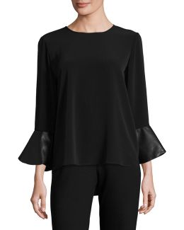 Bell Sleeve Top With Contrast Cuffs