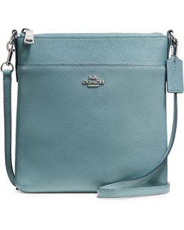 Zippered Leather Crossbody Bag