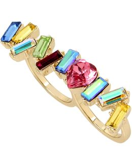 Crystal Multicoloured Double Ring