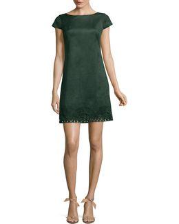 Faux Suede Sheath Dress