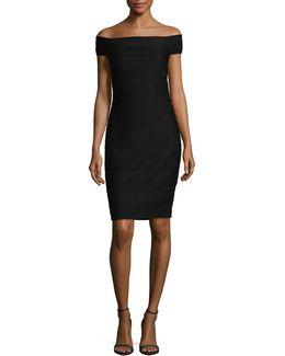 Knit Pintuck Bodycon Dress