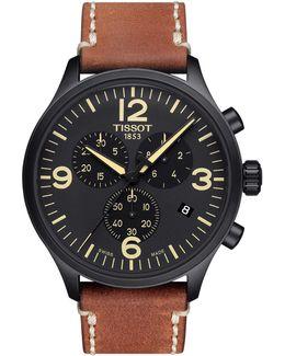 Chronograph T Sport Black Ip Leather Strap Watch