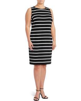 Plus Ottoman Stripe Sheath Dress