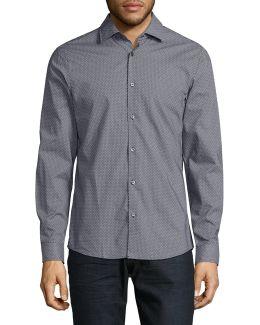Slim Dot Print Dress Shirt
