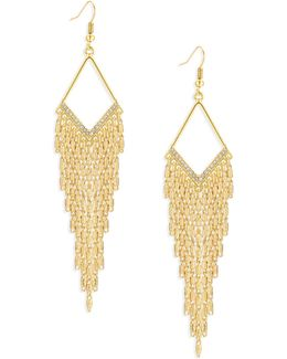 Diamond-shape Goldtone Multi-chain Earrings