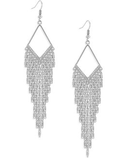 Diamond-shape Silvertone Multi-chain Earrings