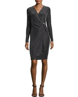 Metallic Faux Wrap Dress