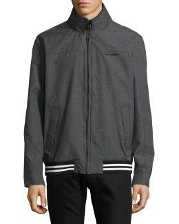 Heathered Varsity Windbreaker Jacket