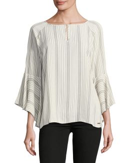 Striped Bell-sleeve Blouse