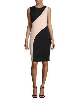 Contour Panel Scuba Sheath Dress