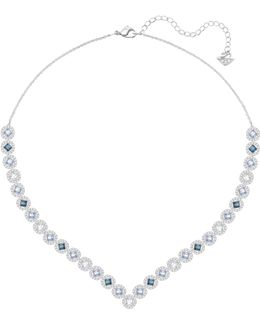 Angelic Multicolour Crystal Silvertone V-necklace