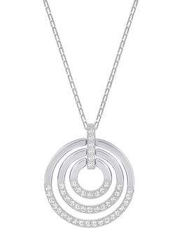 Circle Silvertone Tiered Pendant Necklace